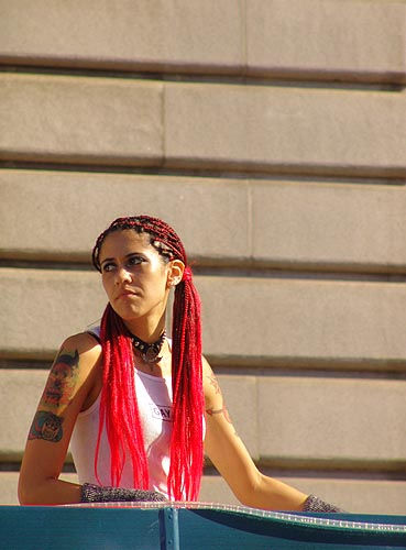 woman with long red hair (san francisco), gay pride festival, gay pride parade, sf gay pride, stranger, woman