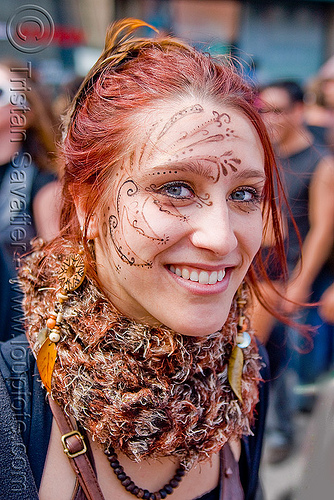 woman with mehndi-like face paint - makeup - Éline (san francisco), eline, face painting, facepaint, how weird festival, makeup, red hair, redhead, woman, Éline