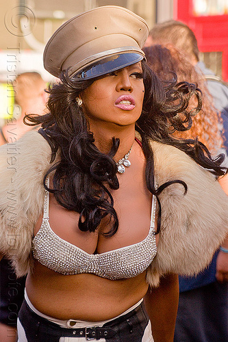 woman with military cap - folsom street fair (san francisco), bra, dancing, fashion, fur, lipstick, m2f, military cap, military hat, trans, transgender, transsexual, transwoman, woman