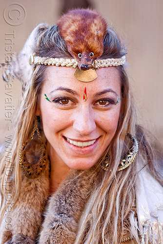 mink hat, burning man decompression, fur, hat, head band, headdress, headwear, mink, taxidermied, taxidermy, virginia, woman