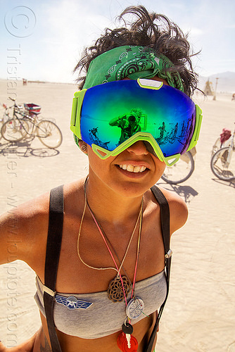 woman with mirror goggles - burning man 2016, burning man, mirror googles, reflective googles, woman