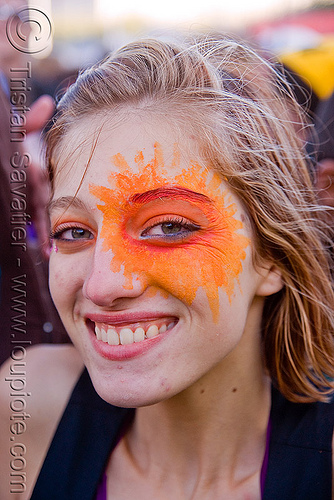 woman with orange face paint - sun - eye, lovevolution, woman