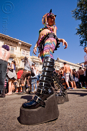 woman with party boots - platform shoes, gay pride festival, twisted jessikr, stock photo