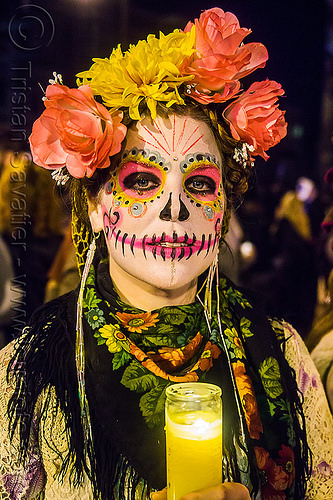 woman with pink sugar skull makeup - dia de los muertos (san francisco), candle, day of the dead, face painting, facepaint, flame, flower headdress, flowers, halloween, night, people