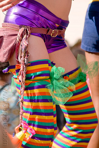 woman with rainbow tights - how weird street fair (san francisco), dancing, kandi kid, kandi raver, rainbow color, rainbow stockings, rainbow tights, rave fashion, woman