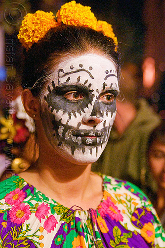 woman with skull makeup - Día de los muertos - halloween (san francisco), day of the dead, dia de los muertos, face painting, facepaint, halloween, night, sugar skull makeup, woman, yellow flowers