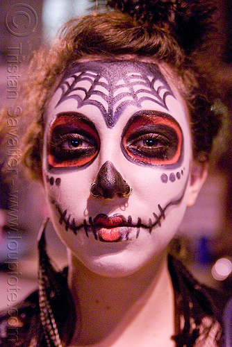 woman with skull makeup - Día de los muertos - halloween (san francisco), day of the dead, dia de los muertos, face painting, facepaint, halloween, makeup, night, woman