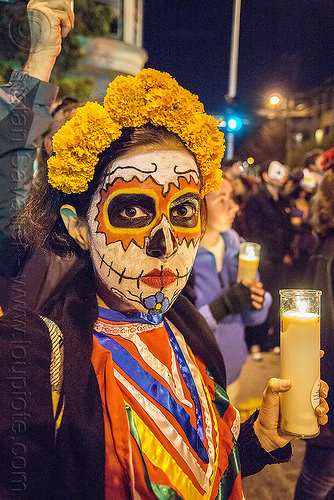 woman with skull makeup - marigold flower headdress - holding glass candle - dia de los muertos, day of the dead, dia de los muertos, face painting, facepaint, glass candle, halloween, marigold flowers headdress, night, sugar skull makeup, woman