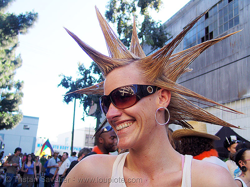 spiky hair, festival, hairdo, how weird festival, lea, people, spikes, woman