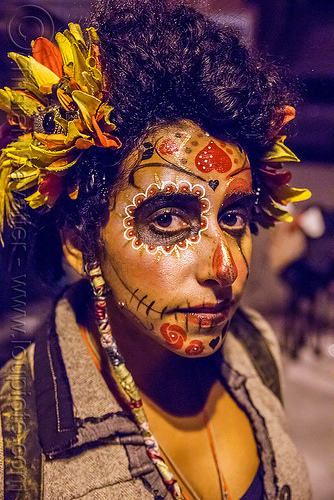woman with sugar skull makeup and flower headdress - dia de los muertos, day of the dead, dia de los muertos, face painting, facepaint, flower headdress, halloween, night, sahar, sugar skull makeup, woman
