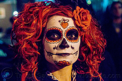 woman with sugar skull makeup and red wig with red flower, day of the dead, dia de los muertos, face painting, facepaint, flower headdress, flowers, halloween, night, red wig, sugar skull makeup, woman