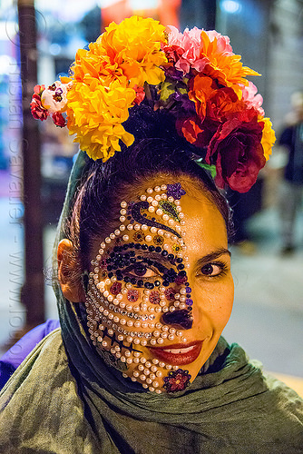 woman with sugar skull makeup made of many pearls glued to her face - dia de los muertos, bindis, day of the dead, dia de los muertos, face painting, facepaint, half face, halloween, night, pearls, sugar skull makeup, woman