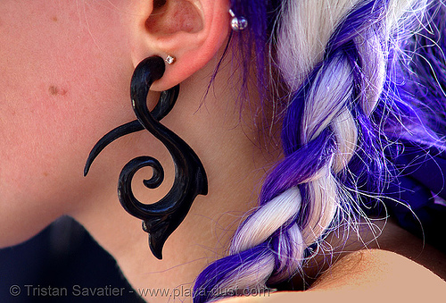 gauge earring - tribal, burning man, ear piercings, ear ring, gauged, gauging, jewelry, stretched piercing