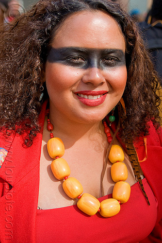 woman with yellow necklace - large beads - how weird street fair (san francisco), facepaint, heavy necklace, makeup, red, woman, yellow necklace