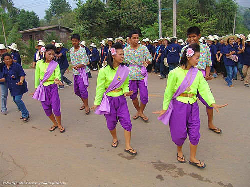 women dancing in the street - festival - thailand, costumes, dancers, festival, street, sukhothai, ประเทศไทย