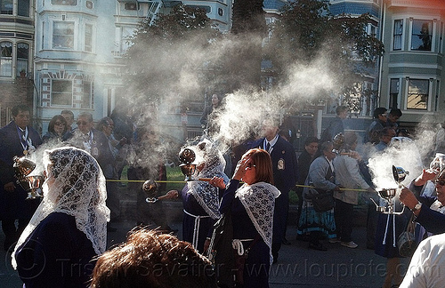 women holding smoking thuribles with burning incense in catholic procession, backlight, censers, crowd, incense, lace, lord of miracles, parade, peruvians, procesión, procession, religion, señor de los milagros, smoke, smoking, street, thuribles, veiled, white veils, women