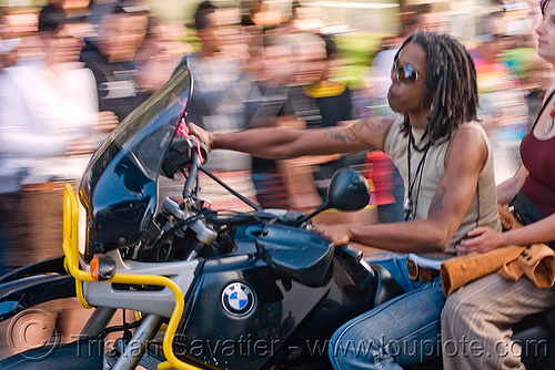 women on BMW R1100GS motorcycle, bmw, dolores park, dykes on bikes, gay pride festival, motorbike, motorcycle, parade, r1100gs, rider, riding, women