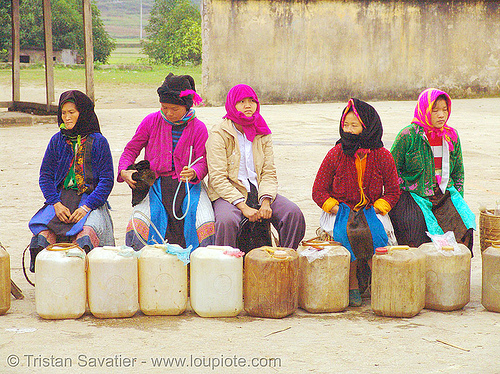 women selling corn wine (alcohol) - vietnam, asian woman, asian women, corn alcohol, corn wine, hill tribes, indigenous, quản bạ, rượu ngô, street market, tam son, tám sơn, vodka