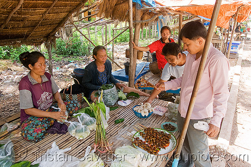 women selling insect snacks (laos), asian woman, edible bugs, edible insects, entomophagy, food, laos, man