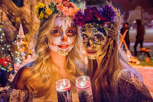 women with beautiful sugar skull makeup - dia de los muertos, andrea, bindis, candle light, candles, day of the dead, dia de los muertos, face painting, facepaint, flower headdress, flowers, halloween, mariana, night, sugar skull makeup, women