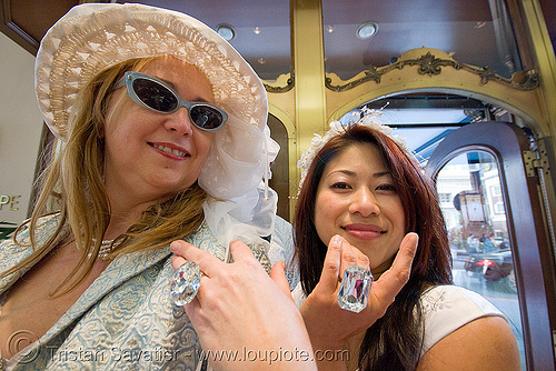 women with diamond rings - brides of march (san francisco), festival, finger rings, jewelry, people, wedding, white
