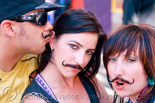 fake moustaches, fake moustaches, fake mustaches, false moustaches, false mustaches, haight street fair, sarah, three, women