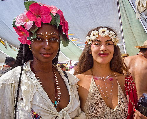women with flower headdress - burning man 2013, center camp, people, woman