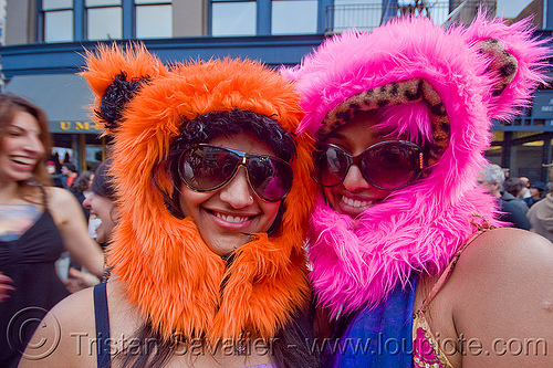 women with fuzzy hoods, fluffy, fuzzy, hat, hoods, orange, pink, ravers, sunglasses, woman
