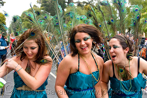 women with peacock feathers, bay to breakers, costumes, festival, footrace, green, peacock feathers, street party, three, women