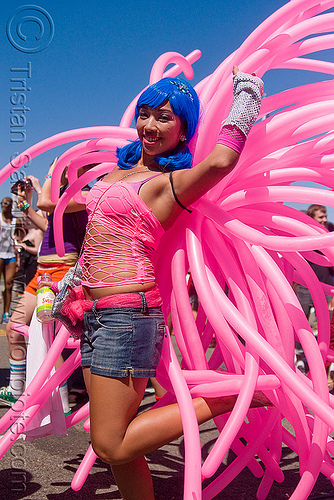 women with pink ballons costume, balloons, blue wig, fishnet clothing, gay pride festival, janet, party ballons, pink, woman