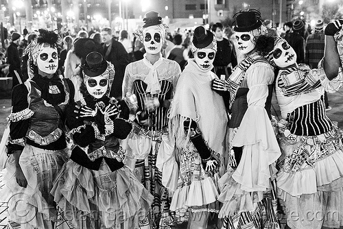 women with skull makeup, adtc, ampey!, ase dance theater collective, costume, dancers, dia de los muertos, dress, dresses, embarcadero, facepaint, halloween, hats, journey to the end of the night, justin herman plaza, makeup, performance, skull face paint, skull face painting, women