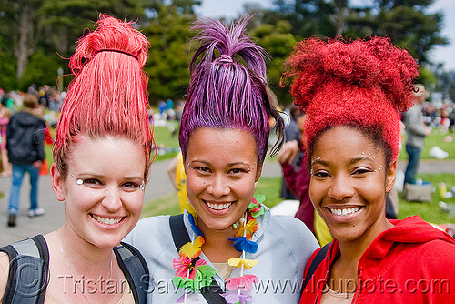 troll hair, bay to breakers, colored hair, costume, festival, footrace, purple, red, standing hair, street party, three, troll costumes, troll hair, trolls, women