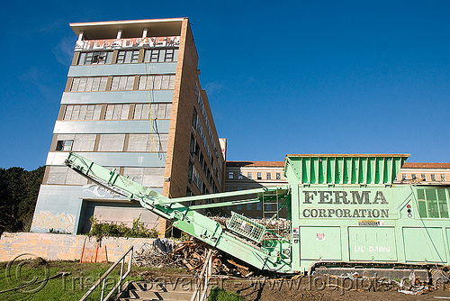 wood shredder with magnetic separator - building demolition, abandoned building, abandoned hospital, at work, building demolition, ferma corporation, machinery, presidio hospital, presidio landmark apartments, wood shredder, working