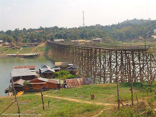 สะพาน - wooden foot bridge - สังขละบุรี - sangklaburi  (thailand), footbridge, infrastructure, wood bridge, wooden bridge, ประเทศไทย, สะพาน, สังขละบุรี