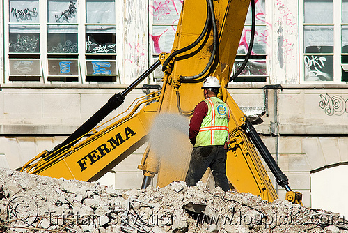 worker - excavators - building demolition, abandoned building, abandoned hospital, building demolition, excavators, ferma corporation, heavy equipment, hydraulic, machinery, presidio hospital, presidio landmark apartments