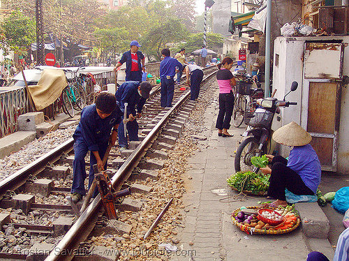 workers on train tracks in hanoi (vietnam), hanoi, rail tracks, railroad construction, railroad tracks, rails, railway tracks, street, train tracks, workers, working