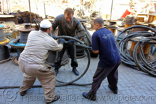 workers rolling steel cable, cables, istanbul, men, roll, rolling, steel cable, workers, working