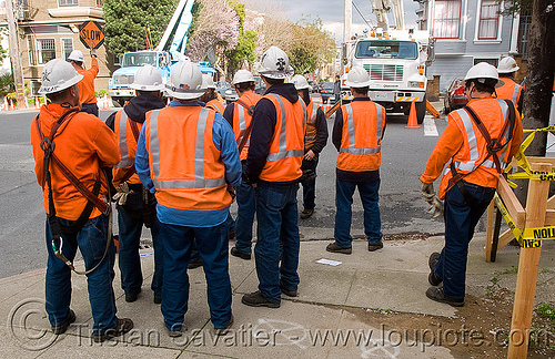workers with reflective safety vests, construction, construction workers, harness, helmet, high-visibility jacket, high-visibility vest, men, orange, pacific gas & electric, people, pg&e, reflective jacket, reflective vest, safety harness, safety helmet