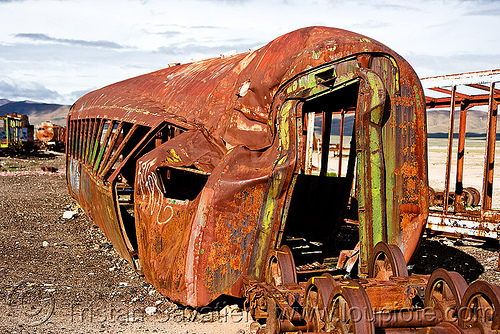 wrecked train car - train cemetery - uyuni (bolivia), abandoned, accidented, enfe, fca, junkyard, railroad, railway, rusted, rusty, scrapyard, train graveyard, train junkyard, wreck
