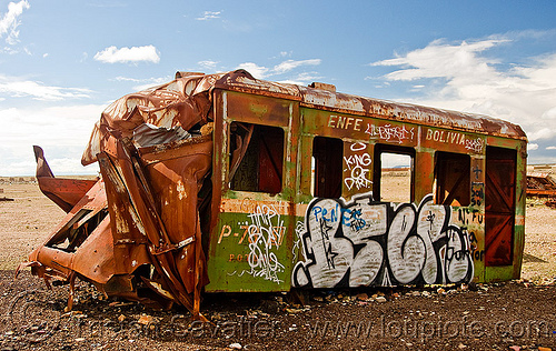 wrecked train car - graffiti - train cemetery - uyuni (bolivia), accidented, bolivia, enfe, fca, graffiti, railroad, railway, rusty, scrapyard, train car, train cemetery, train graveyard, train junkyard, uyuni, wreck, wrecked