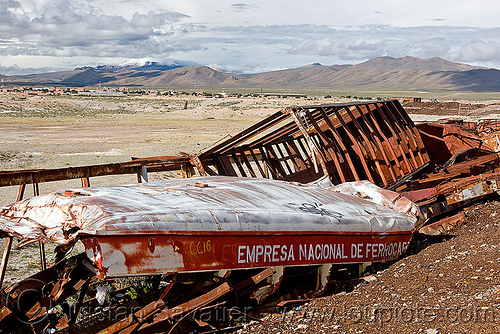 wrecked train car - train junkyard, accidented, bolivia, enfe, fca, railroad, railway, rusty, scrapyard, train car, train cemetery, train graveyard, train junkyard, uyuni, wreck, wrecked