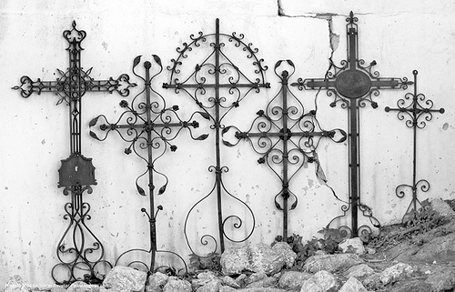 wrought iron crosses along wall (croatia), cemetery, cross, graveyard, ironwork, krk, krk island, metalwork, omisalj, religion