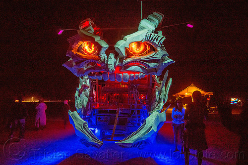 devilish art car - burning man 2015, burning man, eyes, head, mouth, night, teeth, unidentified art car
