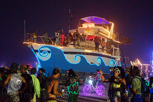 yacht christina - art car - burning man 2013, art ship, boat, el-wire, glowing, people
