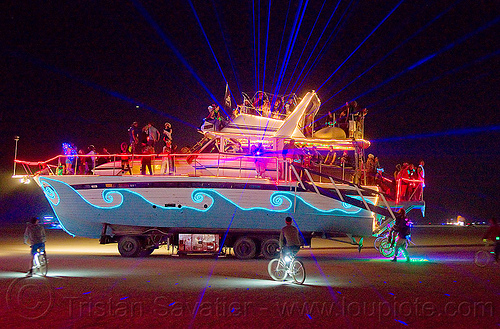 yacht christina - burning man 2012, art car, art ship, boat, burning man, christina, el-wire, glowing, night, yacht