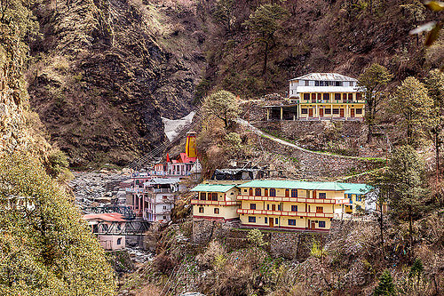 yamunotri village and temple (india), hindu pilgrimage, india, mountains, yamunotri