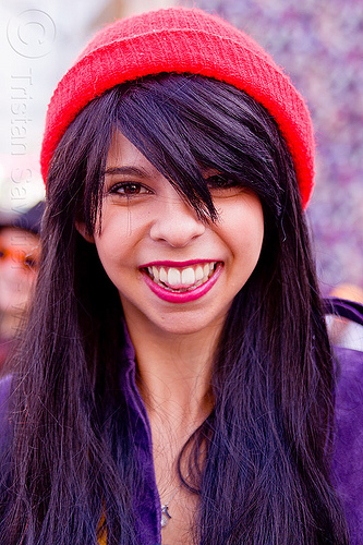 yasmine with red knit cap, knit cap, red cap, woman, yasmine