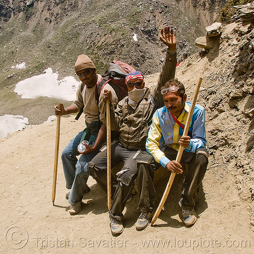 yatris (pilgrims) with their walking sticks - amarnath yatra (pilgrimage) - kashmir, amarnath yatra, hiking canes, hindu pilgrimage, india, kashmir, mountain trail, mountains, pilgrims, trekking, wlaking sticks