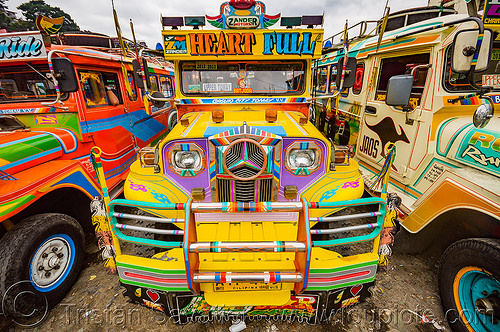 yellow jeepney at jeepney station (philippines), baguio, colorful, decorated, front grill, jeepney, painted, philippines, truck