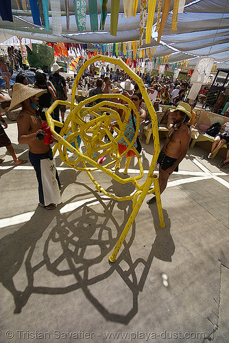 yellow maze sculpture in center camp cafe - burning man 2007, burning man, center camp, maze, yellow pipes